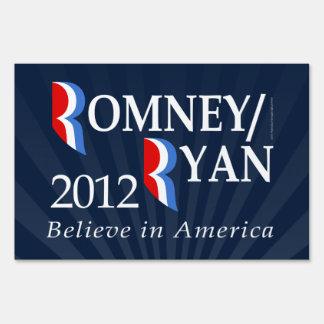 Believe in America, Romney/Ryan 2012 Yard Sign