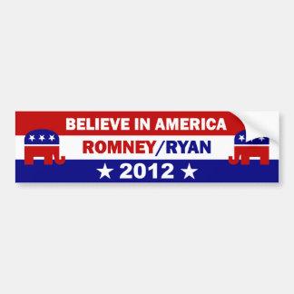 Believe in America Romney Ryan Bumper Sticker