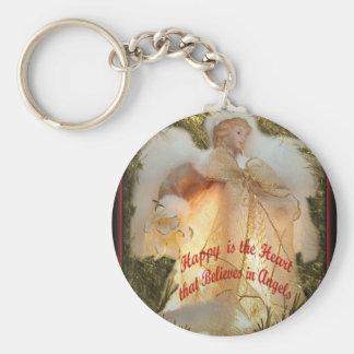 Believe in Angels Basic Round Button Keychain