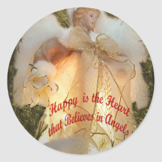 Believe in Angels Classic Round Sticker