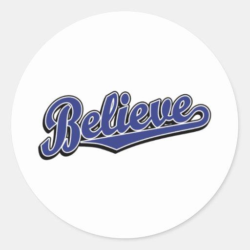 Believe in Blue Deluxe Round Stickers
