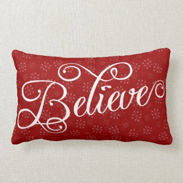 Christmas Themed Believe in Christmas Holiday Snowflake Pillow