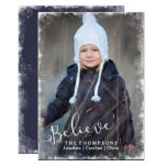 Believe In Christmas Rustic Snow Holiday Photo Card at Zazzle