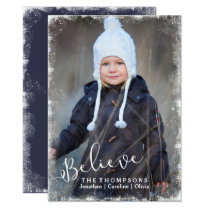 Believe in Christmas Rustic Snow Holiday Photo Card