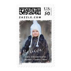 Believe In Christmas Rustic Snow Holiday Photo Postage at Zazzle