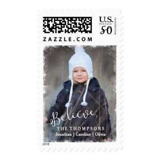 Believe in Christmas Rustic Snow Holiday Photo Postage