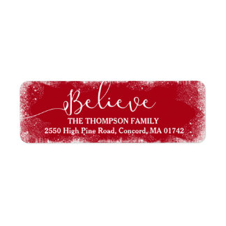 Believe in Christmas Rustic Snow Merry Red Custom Label