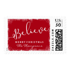 Believe In Christmas Rustic Snow Merry Red Postage at Zazzle