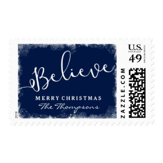 Believe in Christmas Rustic Snow Midnight Blue Postage