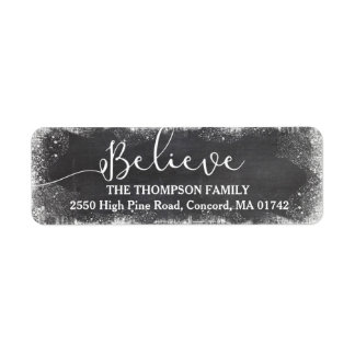 Believe in Christmas Snow Vintage Chalkboard Label