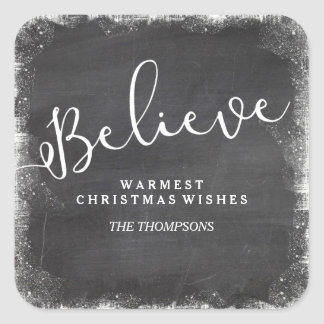 Believe in Christmas Snowflake Vintage Chalkboard Square Sticker