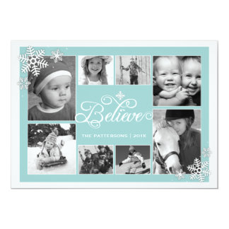 Believe in Christmas Snowflakes 8 Photo Card