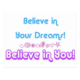 believe in dreams postcard