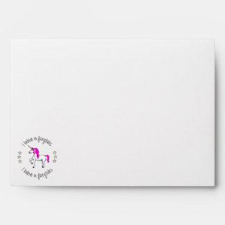 Believe in fairytales unicorn cartoon girls envelope