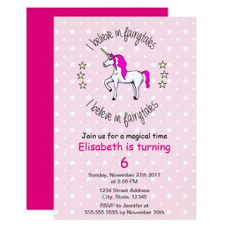 Believe in fairytales unicorn pink girl birthday card