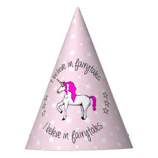 Believe in fairytales unicorn pink girl party hat