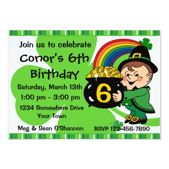 Believe In Leprechauns Birthday Party Invitation