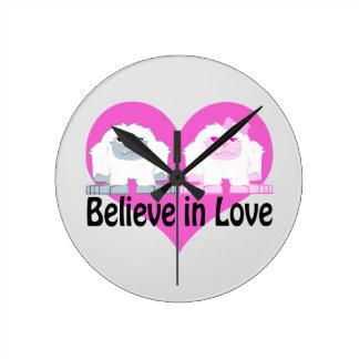 Believe in Love! Cute Yetis Round Clock