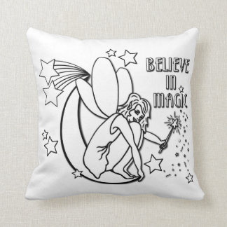 Believe In Magic Fairy Paintable Throw Pillow