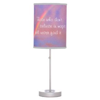 """Believe in Magic"" Quote Rainbow Sunrise Photo Table Lamp"