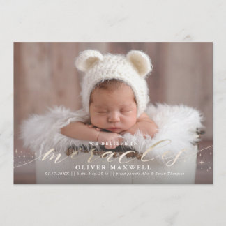 Believe in Miracles Faux Foil Birth Announcement
