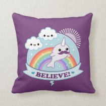 Believe in Mustache Narwhals Throw Pillow