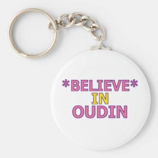 Believe in Oudin Basic Round Button Keychain