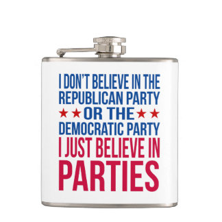 Believe in Parties | Funny Political Blue & Red Flask