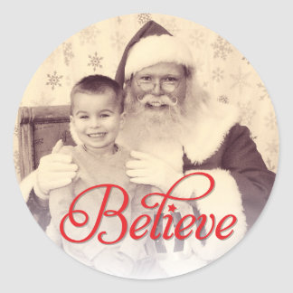 Believe in Red Script | Holiday Photo Sticker