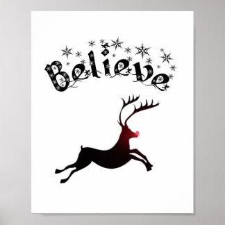Believe in Reindeer print