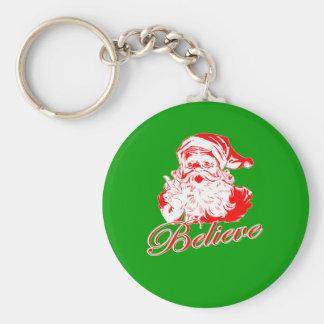 Believe in Santa Basic Round Button Keychain
