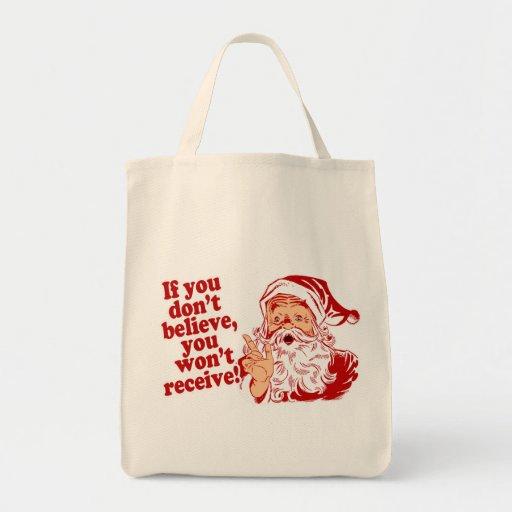 Believe In Santa, Christmas Grocery Tote Bag