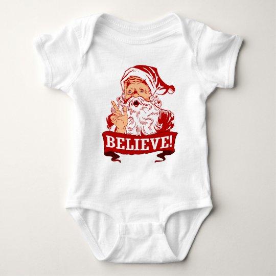 Believe In Santa Claus Baby Bodysuit