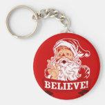 Believe In Santa Claus Basic Round Button Keychain