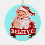 Believe In Santa Claus Christmas Double-Sided Ceramic Round Christmas Ornament
