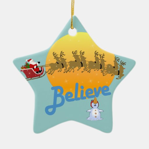 Believe in Santa Claus Double-Sided Star Ceramic Christmas Ornament