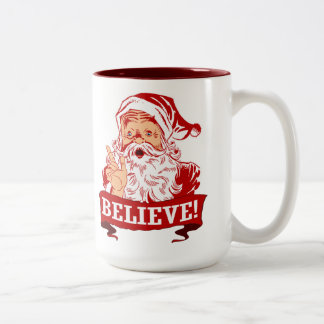 Believe In Santa Claus Two-Tone Coffee Mug