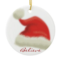 Believe in Santa Double-Sided Ceramic Round Christmas Ornament