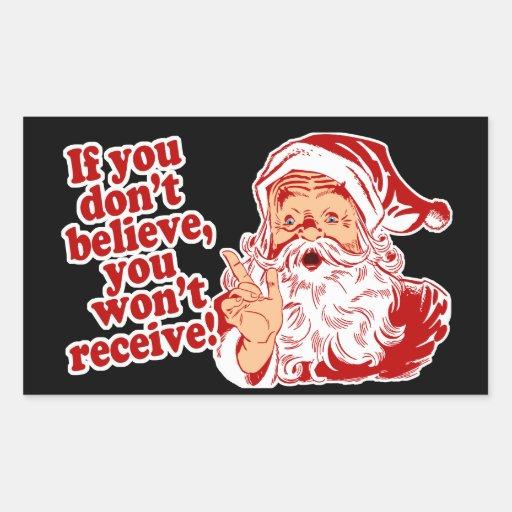Believe in Santa Rectangular Sticker