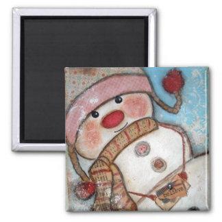 Believe in Snowmen 2 Inch Square Magnet