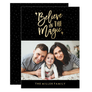 Believe In The Magic | Holiday Photo Card in Black
