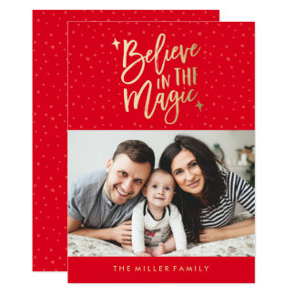 Believe In The Magic | Holiday Photo Card in Red