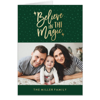 Believe In The Magic Holiday Photo Greeting Card