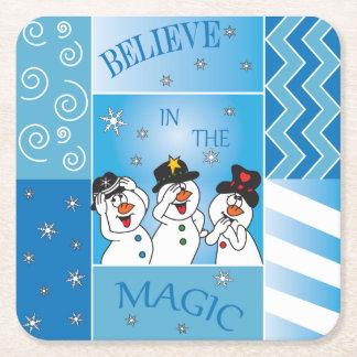 Believe In The Magic Snowmen Square Paper Coaster