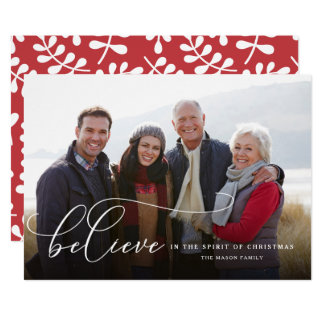 Believe In The Spirit Of Christmas Holiday Card
