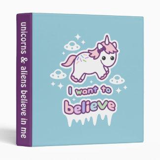 Believe in Unicorns and Aliens 3 Ring Binder