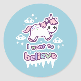 Believe in Unicorns and Aliens Classic Round Sticker