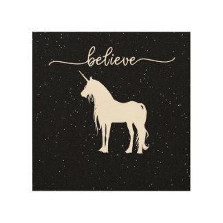 Believe in Unicorns Design Starry Sky Background Wood Wall Art