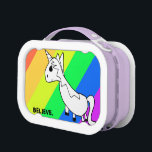 """Believe in Unicorns Rainbow Lunch Box<br><div class=""""desc"""">Drawn by a six year old,  this colorful unicorn will make anyone a believer!</div>"""