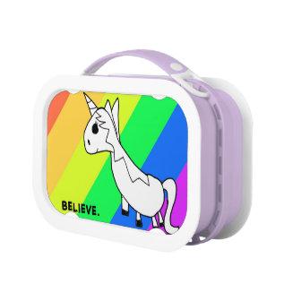 Believe in Unicorns Rainbow Lunch Box at Zazzle